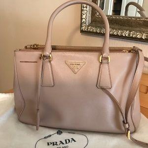 Prada Handbag Saffiano Lux Double-Zip Tote Bag